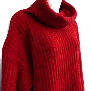 Vintage Chenille Sweater Oversized Cowl Neck Red M
